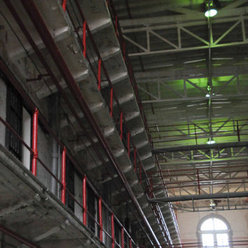Prison Photography, Jail Bars Architecture Photo, Abandoned Missouri Penitentiary, Fine Art Print Photograph, Mysterious, Red, Green, Black