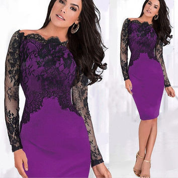 Hot Classy Off Shoulder Sexy Lady Lace Pencil Slim Dress Cocktail Prom Dress = 1956540228