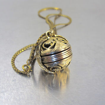 Gold Ball Photo Picture Locket Pendant Necklace, LeStage Signed 14K Yellow Gold Filled Ornate Round Globe Fold Out Photo Picture Locket