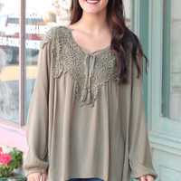Lace Crochet Applique + Tassel Tie Boho Blouse {Olive}