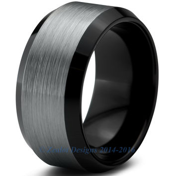 10mm Brushed Silver Tungsten Beveled Pipe Cut