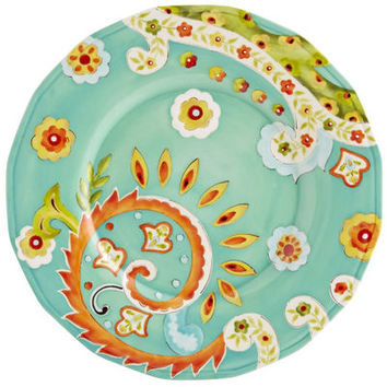 Bianca Paisley Dinner Plate - Turquoise