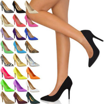 Court Shoes Womens Low Mid High Heel Pointed Toe Pumps Smart Work Size