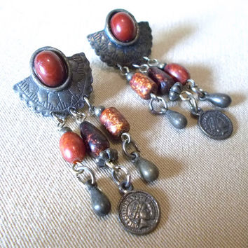 Vintage 80's Bronze Half Concho, Rust Stones & Mini Coin Post Earrings, Bold Southwestern Native American Inspired Striking Ladies Gift Idea
