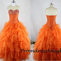 Ball Gown Orange Organza Long Prom Dress/ Ruffle SKirt Formal Dress/ Evening Gown/ Sequins/  Party Dress/ Quinceanera Dress