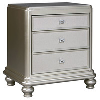 Coralayne Three Drawer Night Stand - Silver