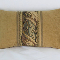 """Gold Tapestry Border Pillow, Brown and Teal Tones,  12x20"""" Lumbar Rectangle, Vintage Look, Ready To Ship"""