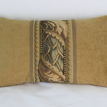 "Gold Tapestry Border Pillow, Brown and Teal Tones,  12x20"" Lumbar Rectangle, Vintage Look, Ready To Ship"