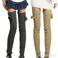 Crochet Knitted Footless Leg Warmers