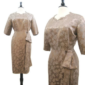 Vintage 50s Dress Mocha Brocade Satin Wiggle Hip Drape Cocktail Party XL