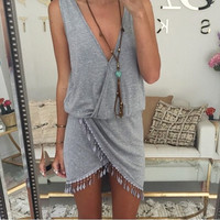 Women Dress 2015 New Europe And America Sexy V-Neck Lace Vintage Dress Irregular Casual Dress = 1955638148