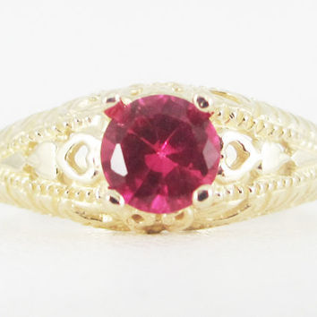 Ruby Round 14k Yellow Gold Filigree Ring, July Birthstone Ring, 14k Gold Ruby Ring, Solid 14 Karat Gold Ring, Gold Filigree Solitaire Ring