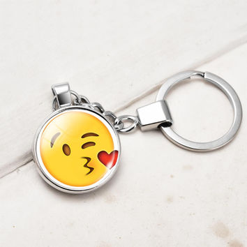 Fashion Silver Plated Key Chain Rings Double Side Glass Funny Emoji Pattern Key Chain Car Key Chain for Unisex