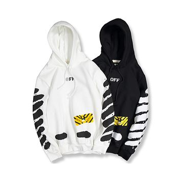 OFF-WHITE 2018 counters splash ink paint speed belt personality hooded plus velvet sweater F-A-KSFZ
