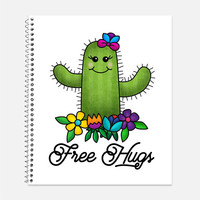 Free Hugs Cactus Notebook, Waterproof Cover, Cute Journal, Tongue-In-Cheek Notebook, School Supplies, Funny Notebook, College Ruled
