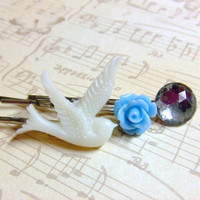 White Bird Blue Flower Clear Jewel Hair Pin Set