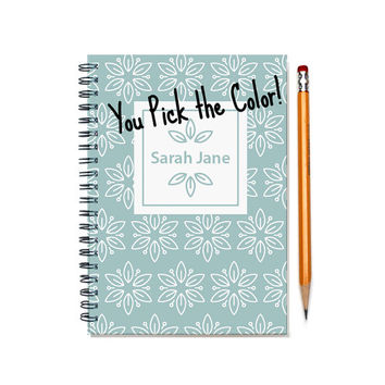 2015-2016 Monthly Planner, Personalized 12 month Calendar Notebook, Custom Gift Idea, Start Any Month, Add Your Name, SKU: pn wht fl