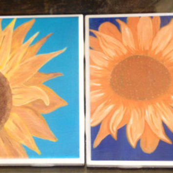 SunFlower -Set of 2 or 4, Tile Coasters, original art, paintings, gift, OOAK, Flowers, floral, sun flower