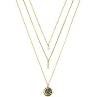 BCBGeneration Layered MOP Moon 3 Row Necklace Set Gold tone multi