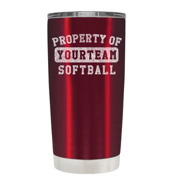 TREK Property of Your Team Softball on Translucent Red 20 oz Tumbler Cup