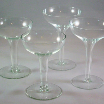 Vintage Champagne Glasses HOLLOW STEM 1950s
