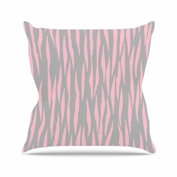 "Wildlife ""Pink Animal Print 12"" Gray Painting Outdoor Throw Pillow"