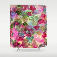 watercolor abstract floral Shower Curtain by clemm