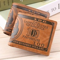 100 Dollar Bill Money Print Wallet