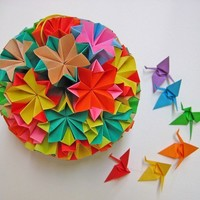 Large Colourful Kusudama Origami Ball by MadeByJo on Etsy