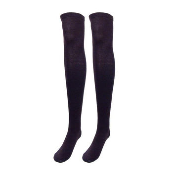 Really Cute! Thigh High/Over The Knee Black Socks
