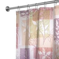 "InterDesign Vivo Botanical Fabric Shower Curtain - 72"" x 72"", Purple/Tan"