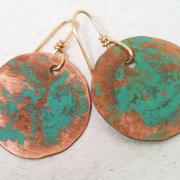 Copper Earrings with Green Patina