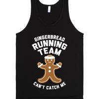 Gingerbread Running Team (White Ink)-Unisex Black Tank