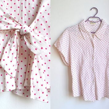 White Pink Polka Dot Shirt Short Sleeve Collared Bow Blouse