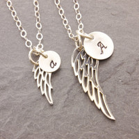 Mom and Daughter Necklace, bird wing necklace, angel feather, matching necklace, personalized, initial necklace, mother daughter, N10