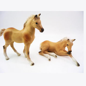Bone China Porcelain PONY FOAL Figurines Seated Foal Standing Pony Hand Painted