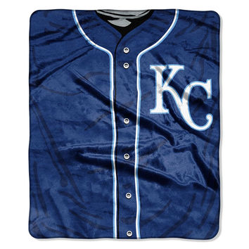 Kansas City Royals MLB Royal Plush Raschel Blanket (Jersey Series) (50in x 60in)