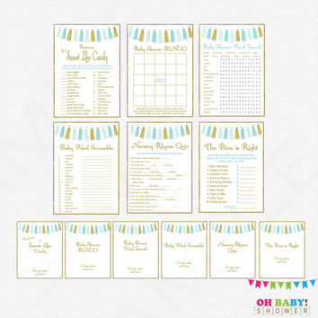 Blue Gold Baby Shower Games Pack, games bundle, baby shower game bundle, printable baby shower signs, boy, bingo, Tassels, Download, TASBG