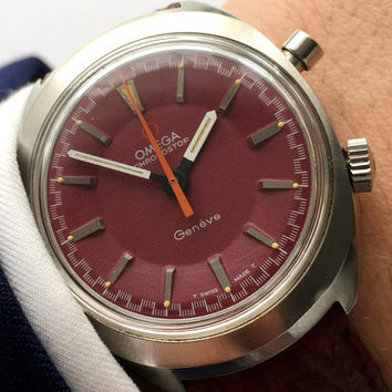 Omega Geneve Chronostop Chronograph with red dial burgundy