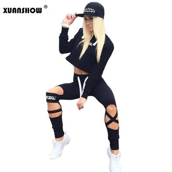 2018 Summer Style Women Tracksuits Ladies 2 Piece Set Women Long Pants and Crop Top Suit Fashion Hollow Out Sportswear