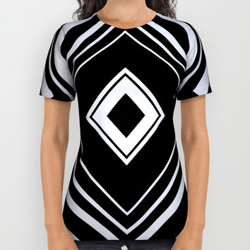 Black and White Tribal Pattern Diamond Shapes Geometric Geometry Contrast I All Over Print Shirt by AEJ Design
