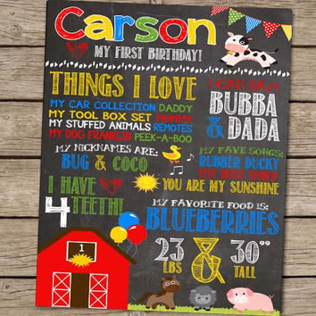 First Birthday Chalkboard Farm Animal Barnyard Birthday Poster - PRINTED Barnyard Bash Farm Party First Birthday Boy Party Sign
