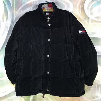 vintage Tommy Hilfiger puffer jacket ? 90s puffa puffy bomber black winter coat velour