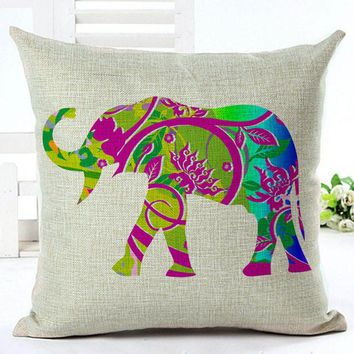 Cute Colorful Indian Elephant Pillowwcase