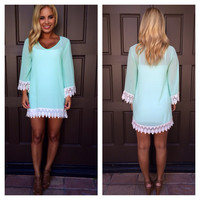 Allison Crochet Long Sleeve Dress / Tunic - MINT
