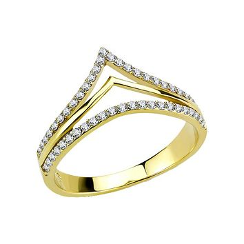 Aurous - Women's Gold IP Stainless Steel CZ Ring