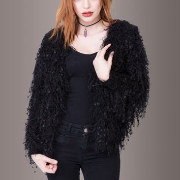 Fringe Fur Ever Black Shaggy Cardigan