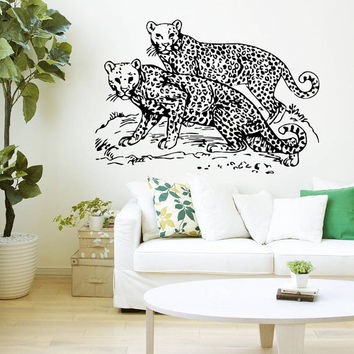 Wall Decal Vinyl Sticker Decals Art Home Decor Design Mural Leopard Print Wild Cat Wildcat Animals Panther Tiger Bedroom Bathroom Dorm AN46