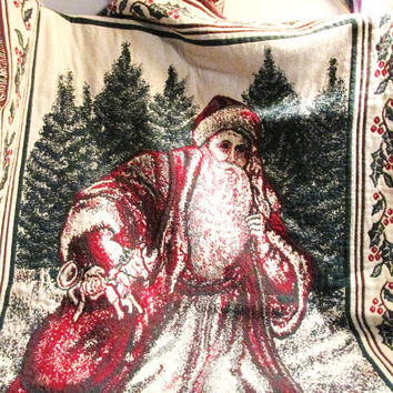 "Christmas tapestry throw blanket ""Old World Santa"" 100 % cotton in red and green"