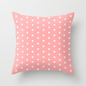 Polka dot pattern, classic pink, dotted, retro style design, white points circles, vintage pin-up Throw Pillow by hmdesignspl